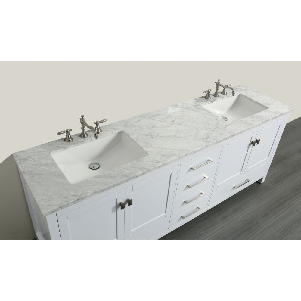 Eviva Aberdeen 84 In. Transitional White Bathroom Vanity With White Carrera Countertop