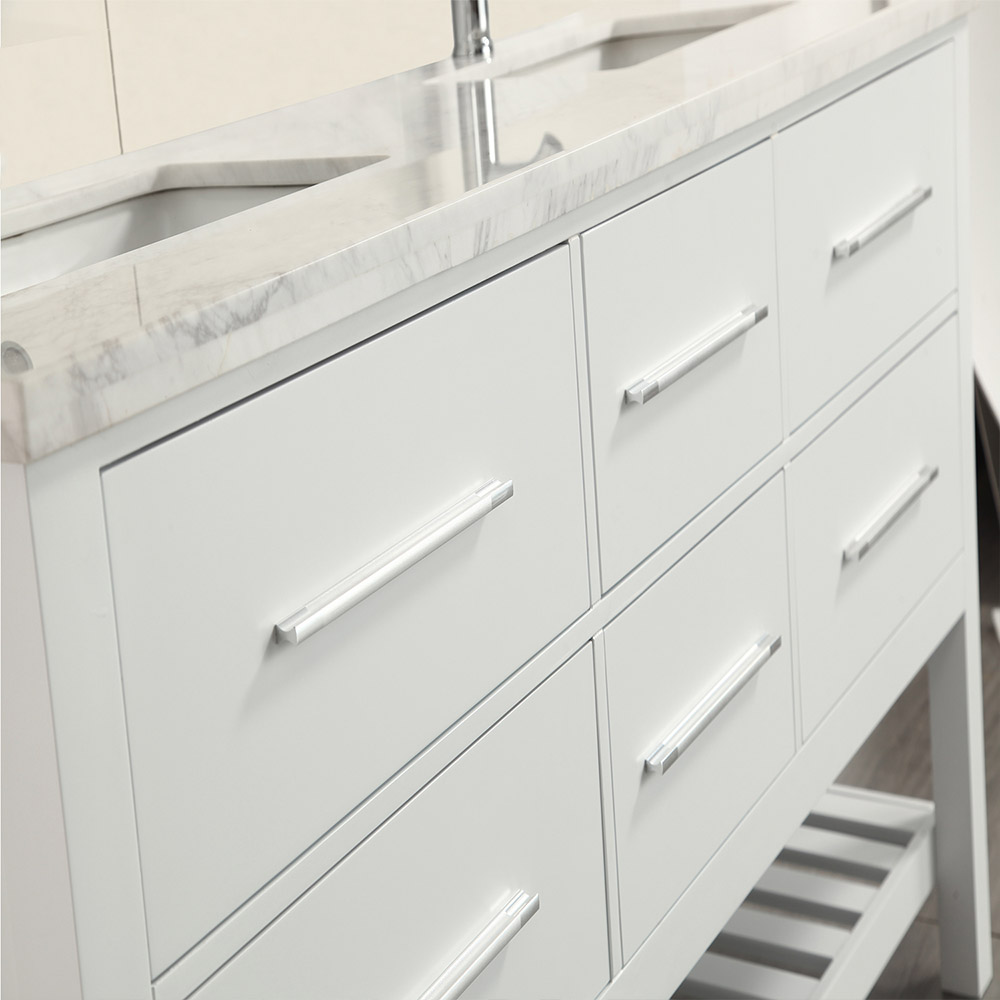 Eviva Natalie F. 60 in. White Bathroom Vanity With White Carrera Marble Countertop and Double Porcelain Sinks