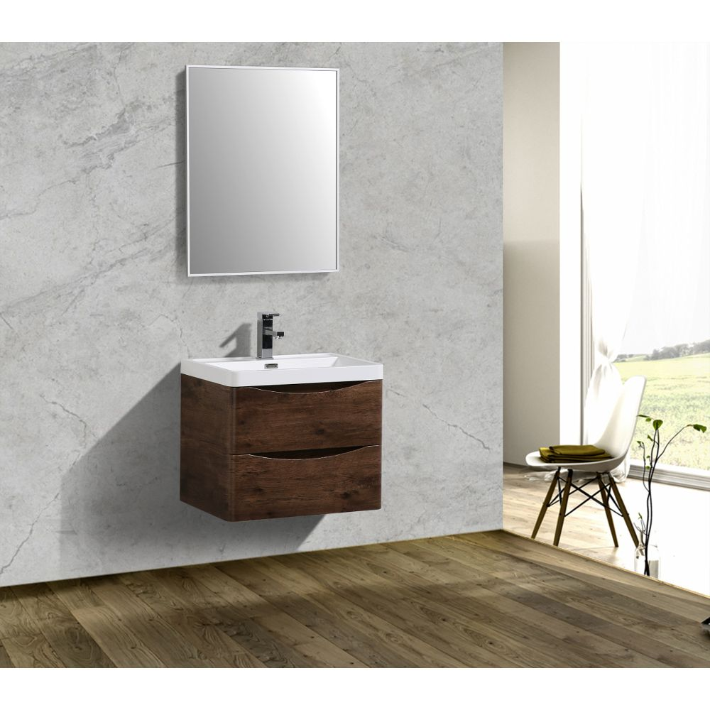 Eviva Smile 24 in. Wall Mount Rosewood Modern Bathroom Vanity Set with Integrated White Acrylic Sink