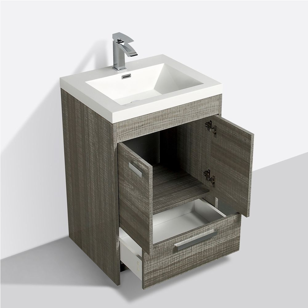 Eviva Lugano 24 In. Ash Modern Bathroom Vanity With White Integrated Acrylic Sink