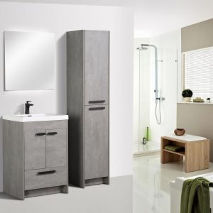 Eviva Lugano 24 In. Cement Gray Modern Bathroom Vanity With White Integrated Acrylic Sink