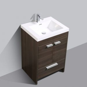 Eviva Lugano 24 In. Grey Oak Modern Bathroom Vanity With White Integrated Acrylic Sink