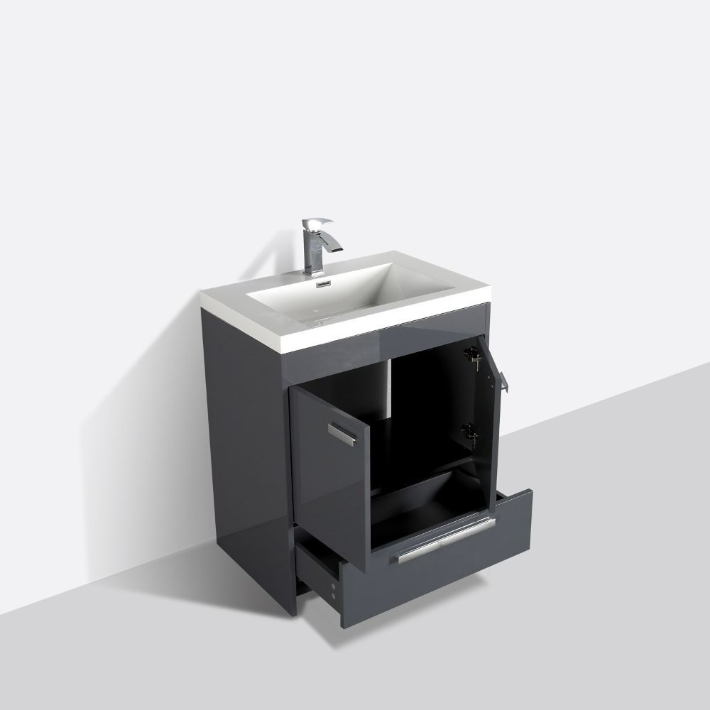 Eviva Lugano 24 In. Gray Modern Bathroom Vanity With White Integrated Acrylic Sink