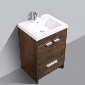 Eviva Lugano 24 In. Rosewood Modern Bathroom Vanity With White Integrated Acrylic Sink