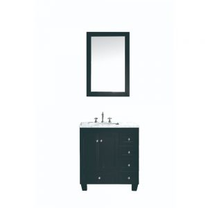 Eviva Acclaim C. 30 In. Transitional Espresso Bathroom Vanity With White Carrera Marble Countertop