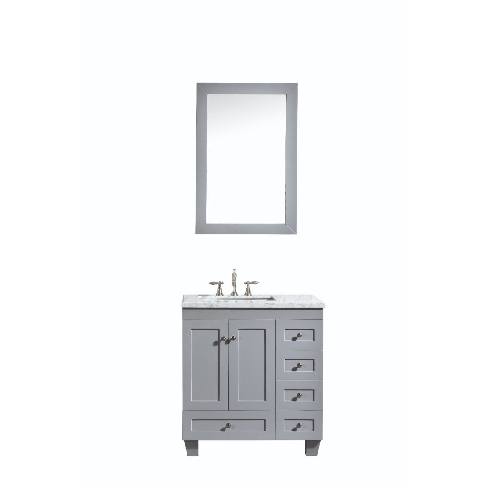 Eviva Acclaim C. 30 In. Transitional Grey Bathroom Vanity With White Carrera Marble Countertop