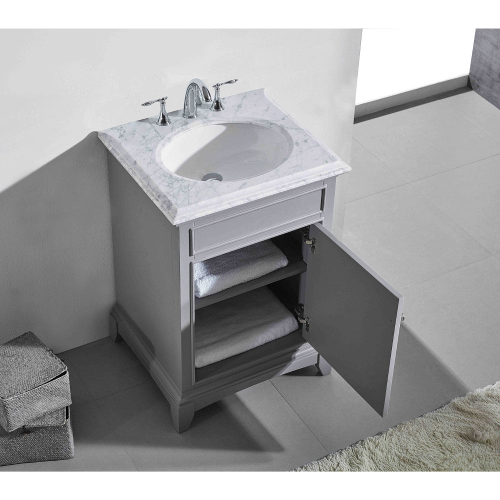 Eviva Elite Stamford 24 In. Gray Solid Wood Bathroom Vanity Set With Double Og White Carrera Marble Top and White Undermount Porcelain Sink