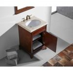Eviva Elite Stamford 24 In. Brown Solid Wood Bathroom Vanity Set With Double Og Crema Marfil Marble Top and White Undermount Porcelain Sink