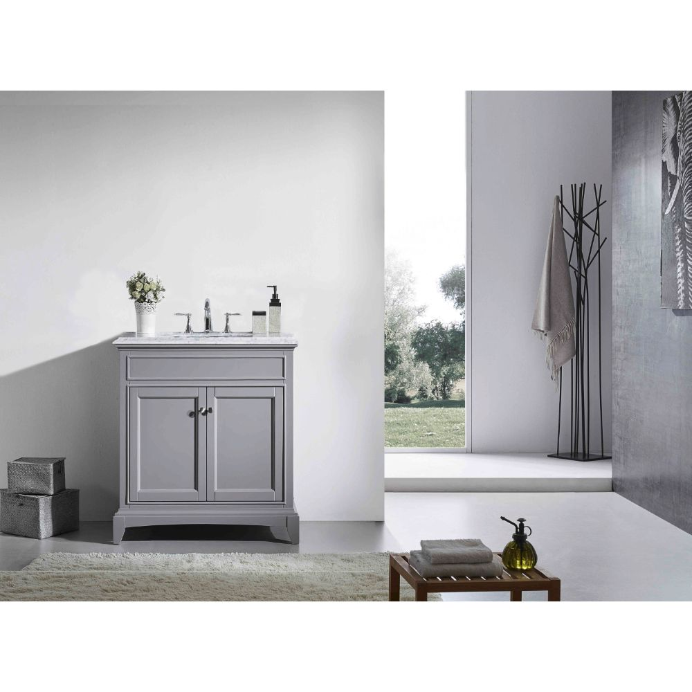 Eviva Elite Stamford 36 In. Gray Solid Wood Bathroom Vanity Set With Double Og White Carrera Marble Top and White Undermount Porcelain Sink