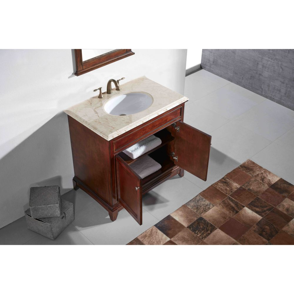 Eviva Elite Stamford 36 In. Brown Solid Wood Bathroom Vanity Set With Double Og Crema Marfil Marble Top and White Undermount Porcelain Sink