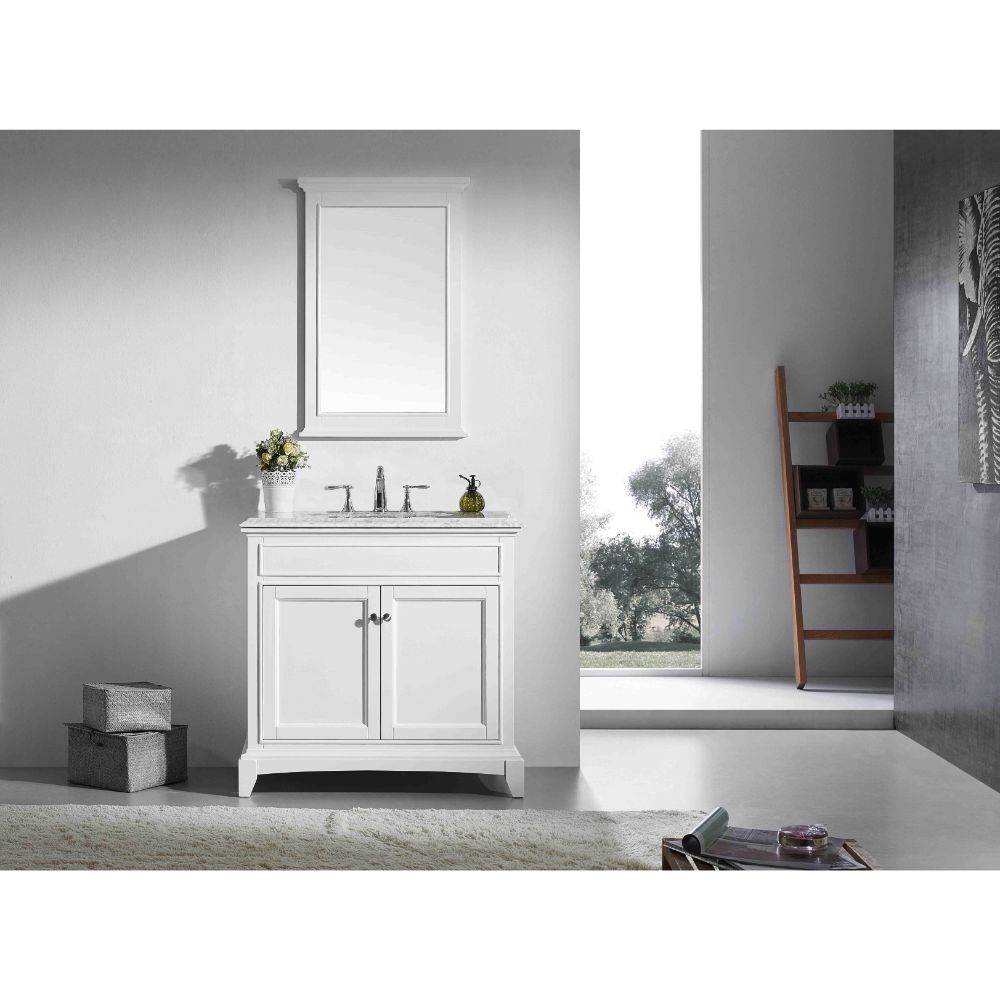 Eviva Elite Stamford 30 In. White Solid Wood Bathroom Vanity Set With Double Og White Carrera Marble Top and White Undermount Porcelain Sink