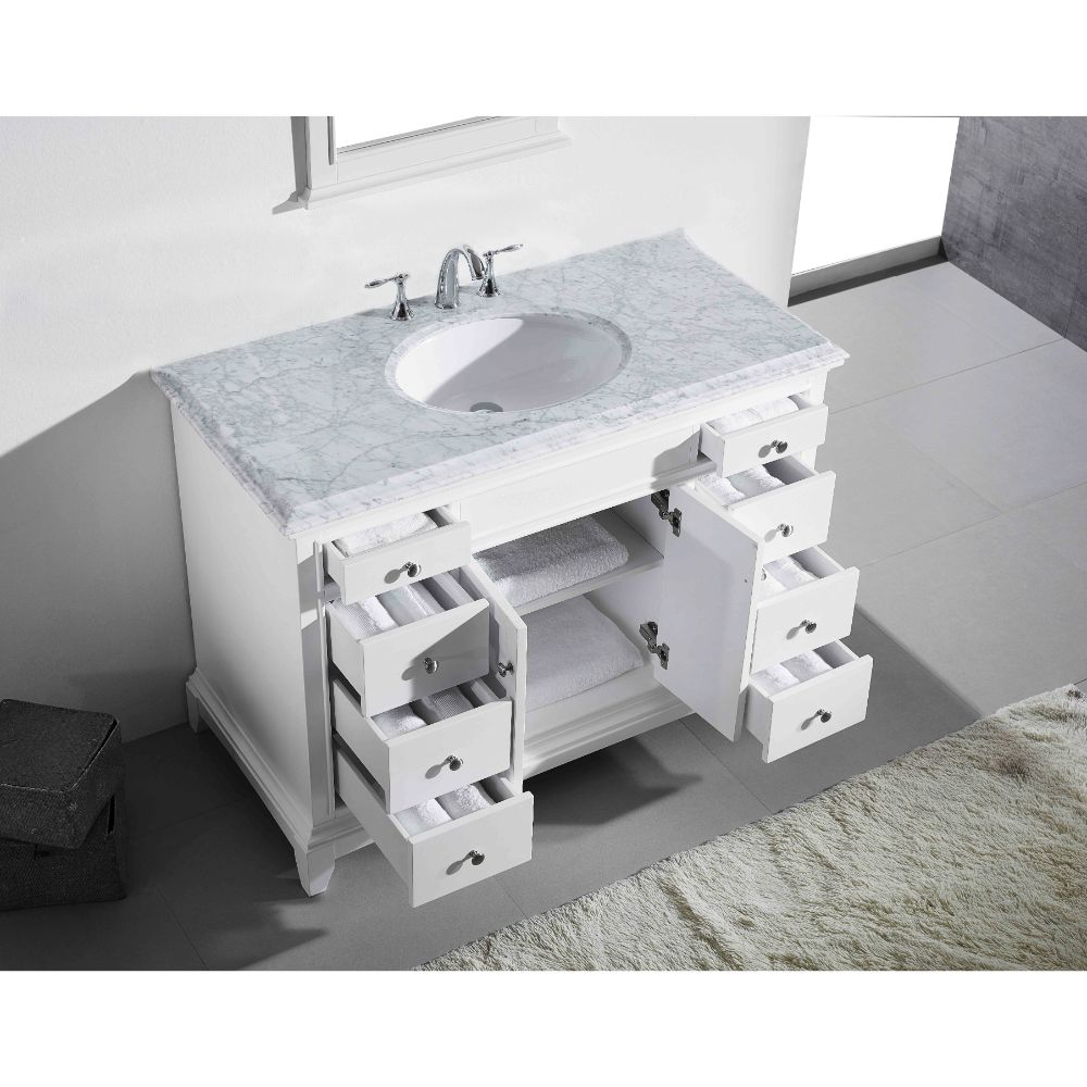 Eviva Elite Stamford 42 In. White Solid Wood Bathroom Vanity Set With Double Og White Carrera Marble Top and White Undermount Porcelain Sink