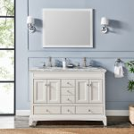 Eviva Elite Stamford 48 In. White Solid Wood Bathroom Vanity Set With Double Og White Carrera Marble Top and White Undermount Porcelain Sink