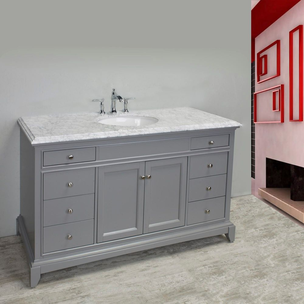 Eviva Elite Stamford 60 In. Grey Solid Wood Single Bathroom Vanity Set With Double Og Crema Marfil Marble Top and White Undermount Porcelain Sink
