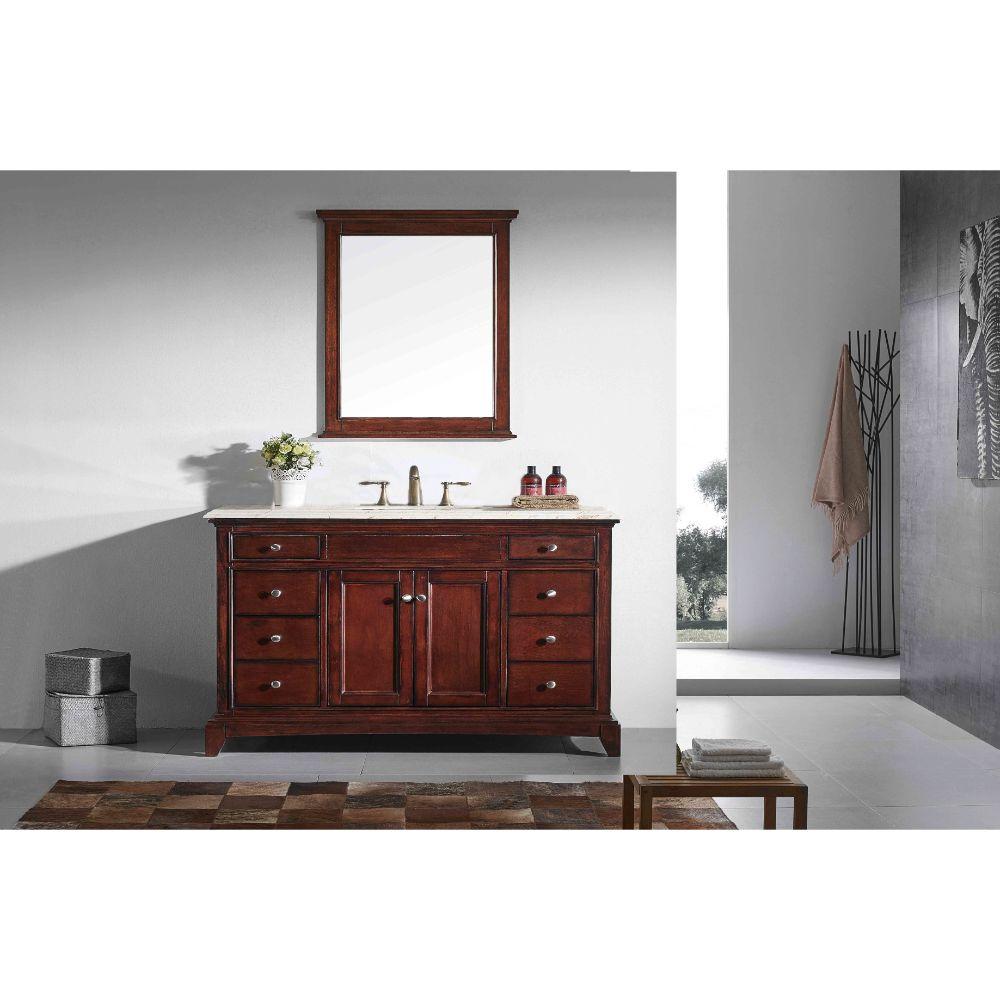 Eviva Elite Stamford 60 In. Brown (Teak) Solid Wood Single Bathroom Vanity Set With Crema Marfil Marble Top and White Undermount Porcelain Sink