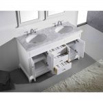 Eviva Elite Stamford 60 In. White Solid Wood Bathroom Vanity Set With Double Og White Carrera Marble Top and White Undermount Porcelain Sinks