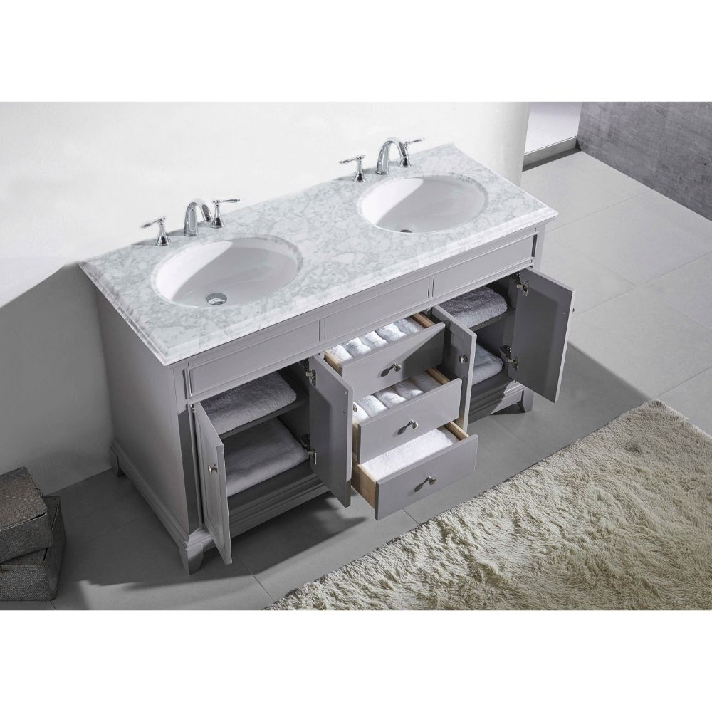 Eviva Elite Stamford 72 In. Gray Solid Wood Bathroom Vanity Set With Double Og White Carrera Marble Top and White Undermount Porcelain Sinks