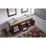 Eviva Elite Stamford 72 In. Brown Solid Wood Bathroom Vanity Set With Double Og Crema Marfil Marble Top and White Undermount Porcelain Sinks