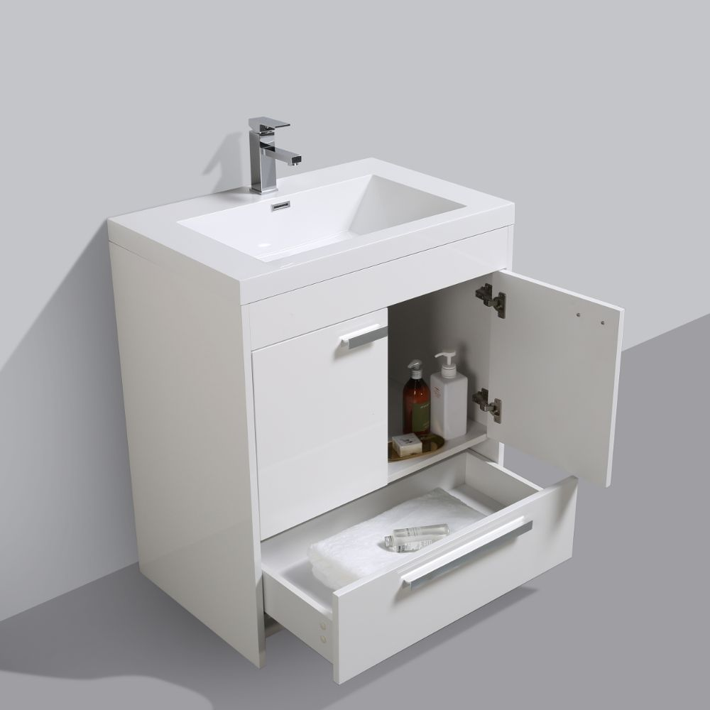 Eviva Lugano 30 In. White Modern Bathroom Vanity With White Integrated Acrylic Sink