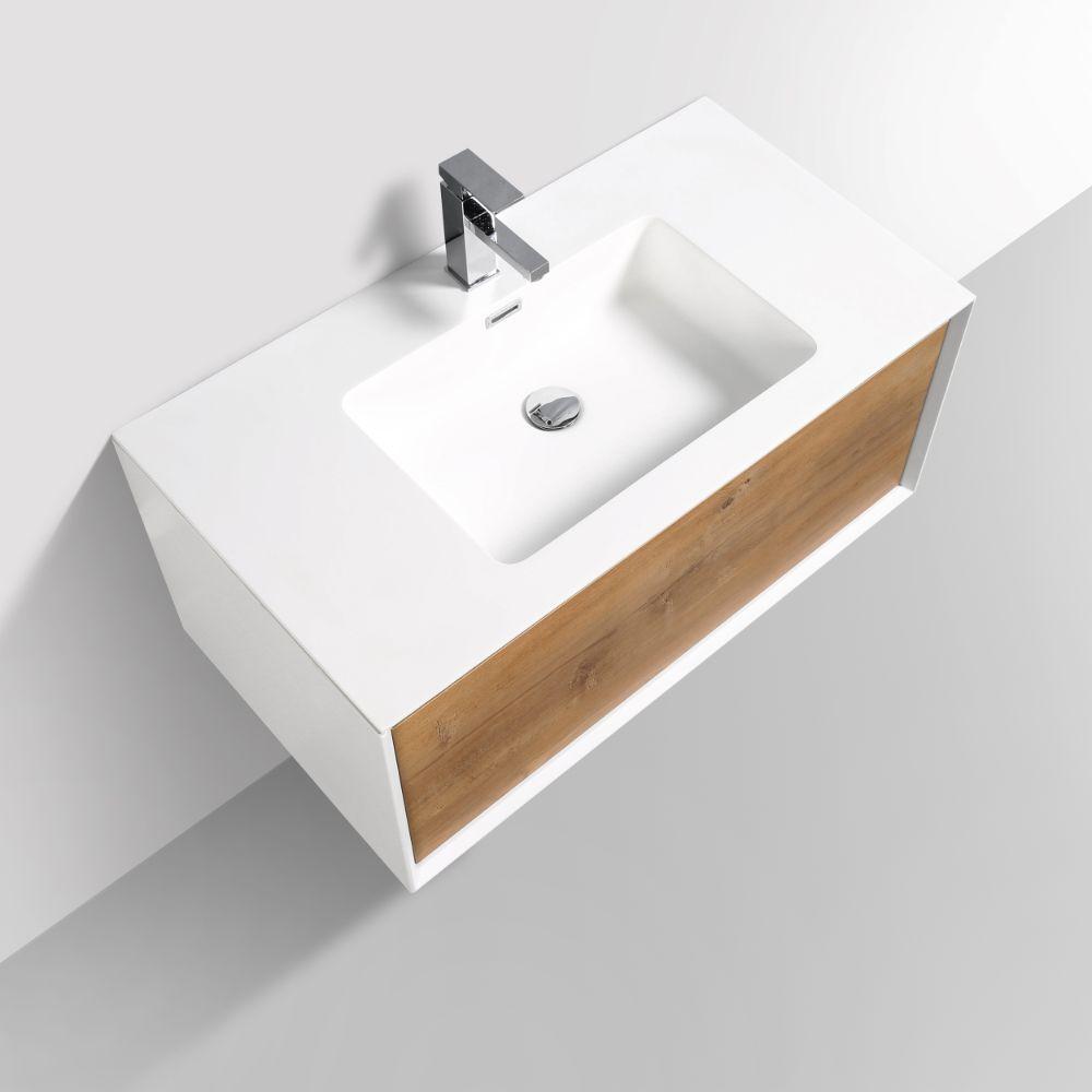 Eviva Vienna 36 inch Oak White Wall Mount Bathroom Vanity