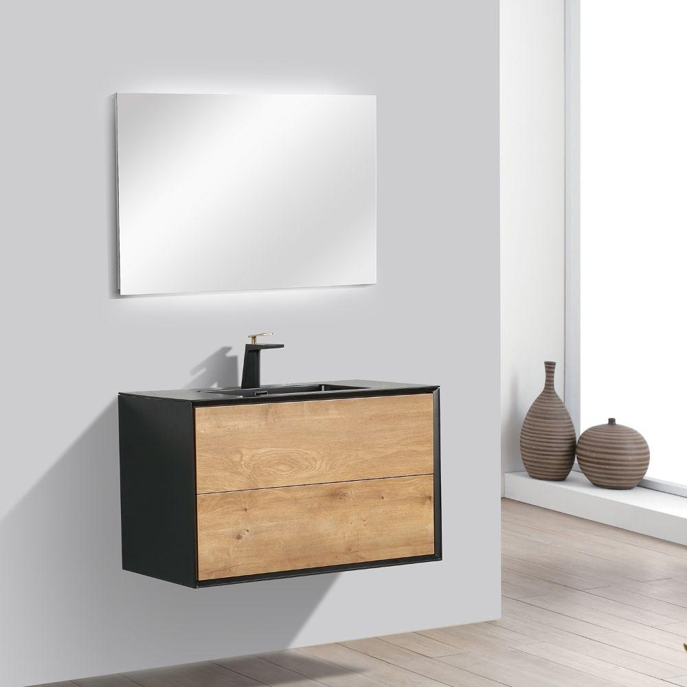 Eviva Vienna 36 inch Oak Black Wall Mount Bathroom Vanity