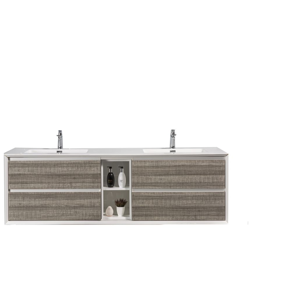 Eviva Vienna 75 inch Ash White Wall Mount Bathroom Vanity