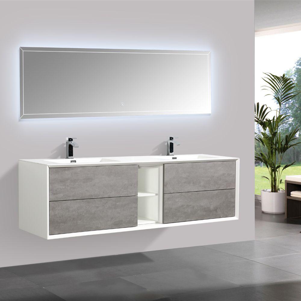 Eviva Vienna 75 inch Cement Gray Wall Mount Bathroom Vanity