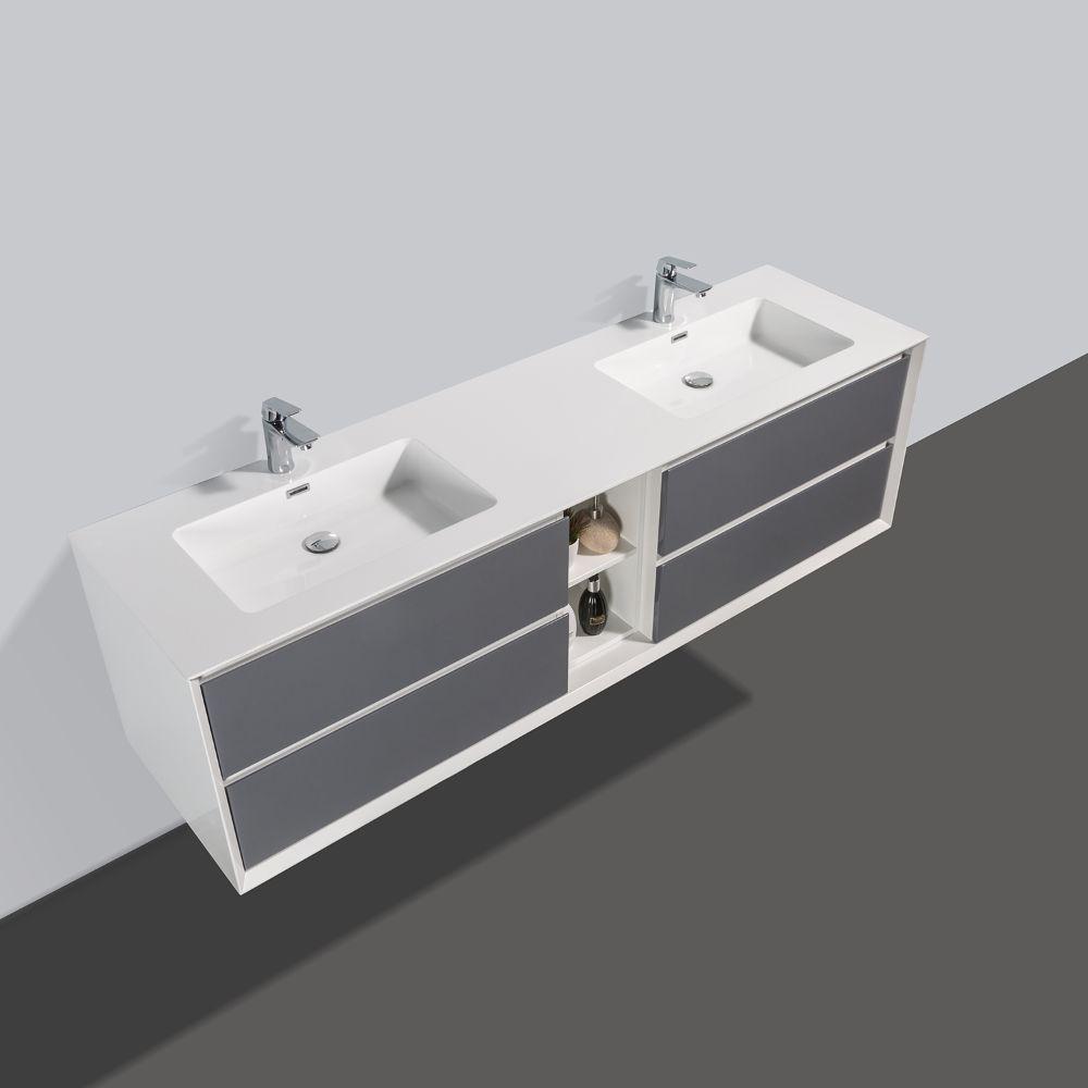 Eviva Vienna 75 inch Gray White Wall Mount Bathroom Vanity