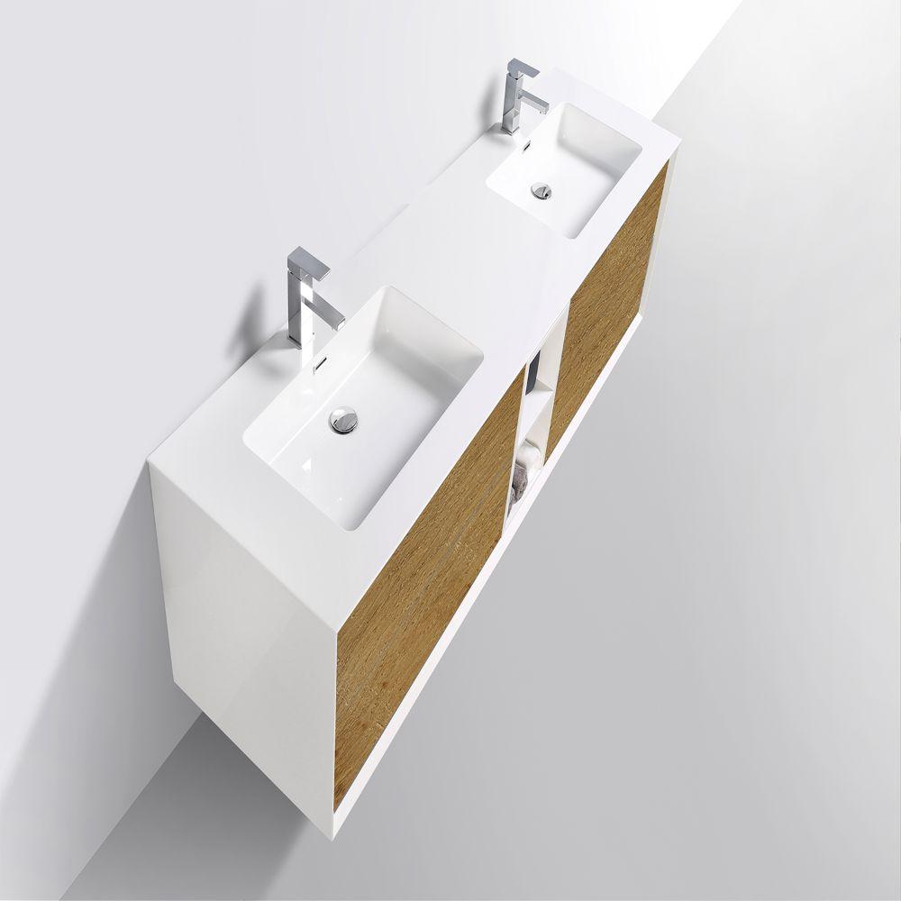 Eviva Vienna 75 inch Oak White Wall Mount Bathroom Vanity
