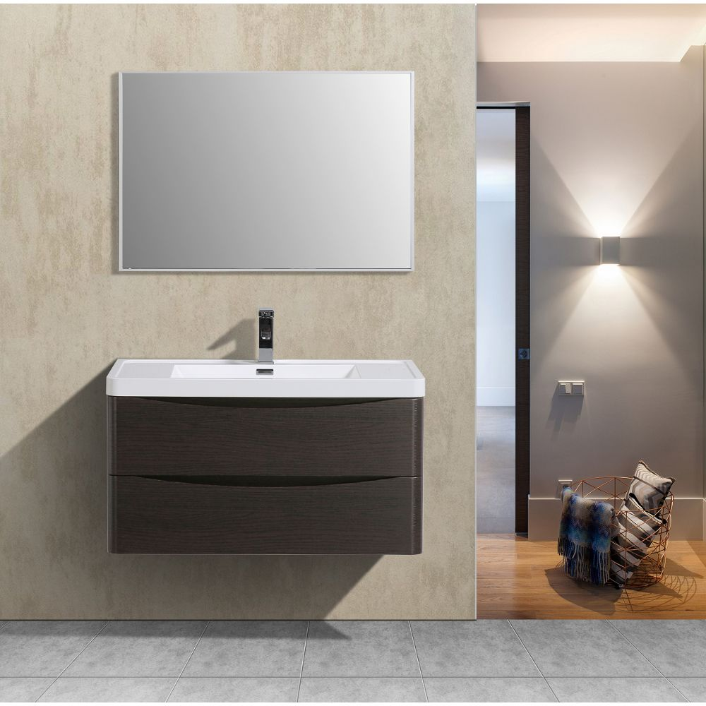 Eviva Smile 36 in. Wall Mount Chestnut Modern Bathroom Vanity Set with Integrated White Acrylic Sink