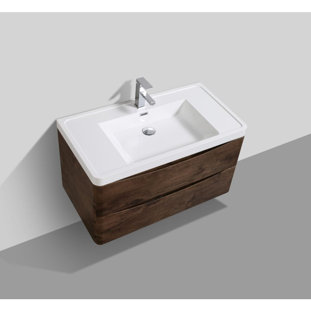 Eviva Smile 36 in. Wall Mount Rosewood Modern Bathroom Vanity Set with Integrated White Acrylic Sink