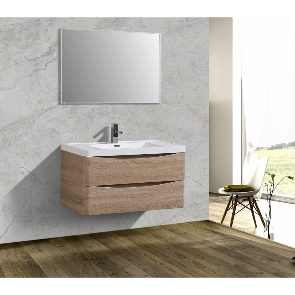 Eviva Smile 36 in. Wall Mount White Oak Modern Bathroom Vanity Set with Integrated White Acrylic Sink