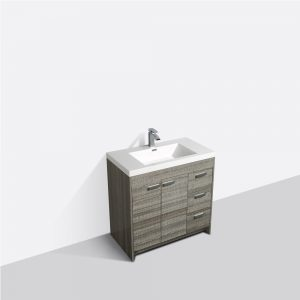 Eviva Lugano 36 In. Ash Modern Bathroom Vanity With White Integrated Acrylic Sink