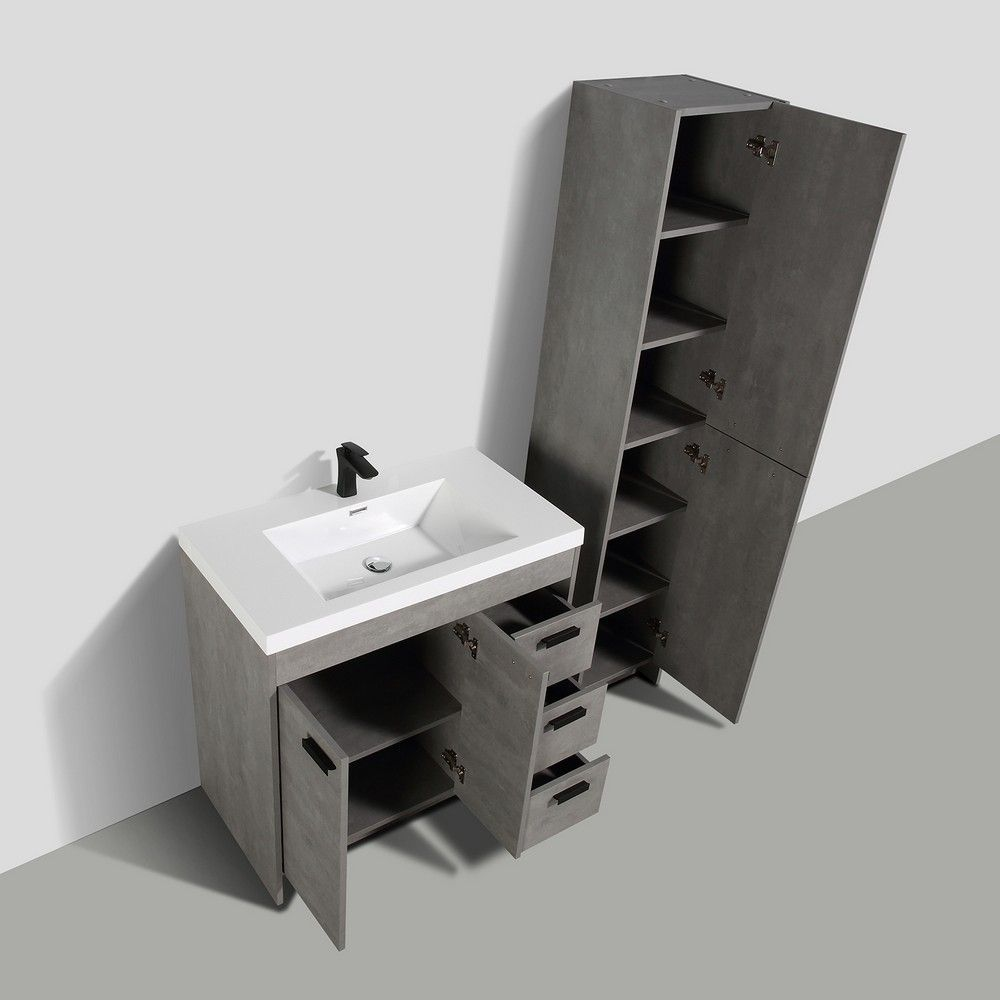 Eviva Lugano 36 In. Cement Gray Modern Bathroom Vanity With White Integrated Acrylic Sink