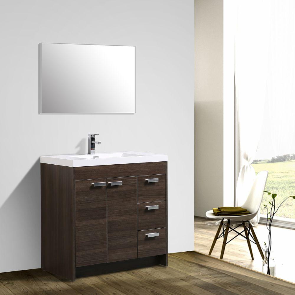 Eviva Lugano 36 In. Grey Oak Modern Bathroom Vanity With White Integrated Acrylic Sink