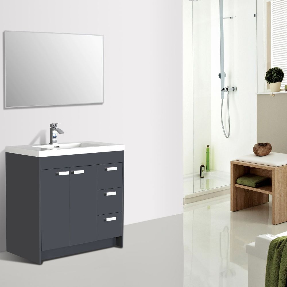Eviva Lugano 36 In. Gray Modern Bathroom Vanity With White Integrated Acrylic Sink