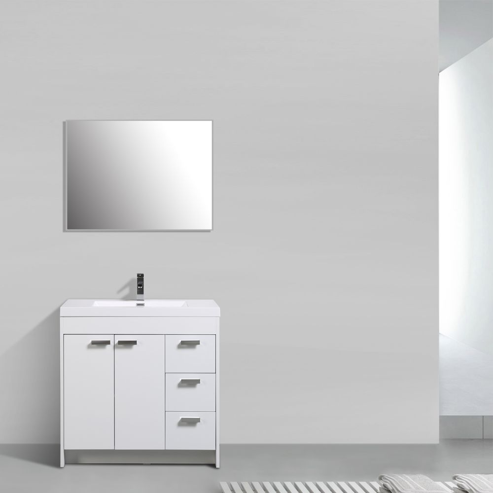 Eviva Lugano 36 In. White Modern Bathroom Vanity With White Integrated Acrylic Sink