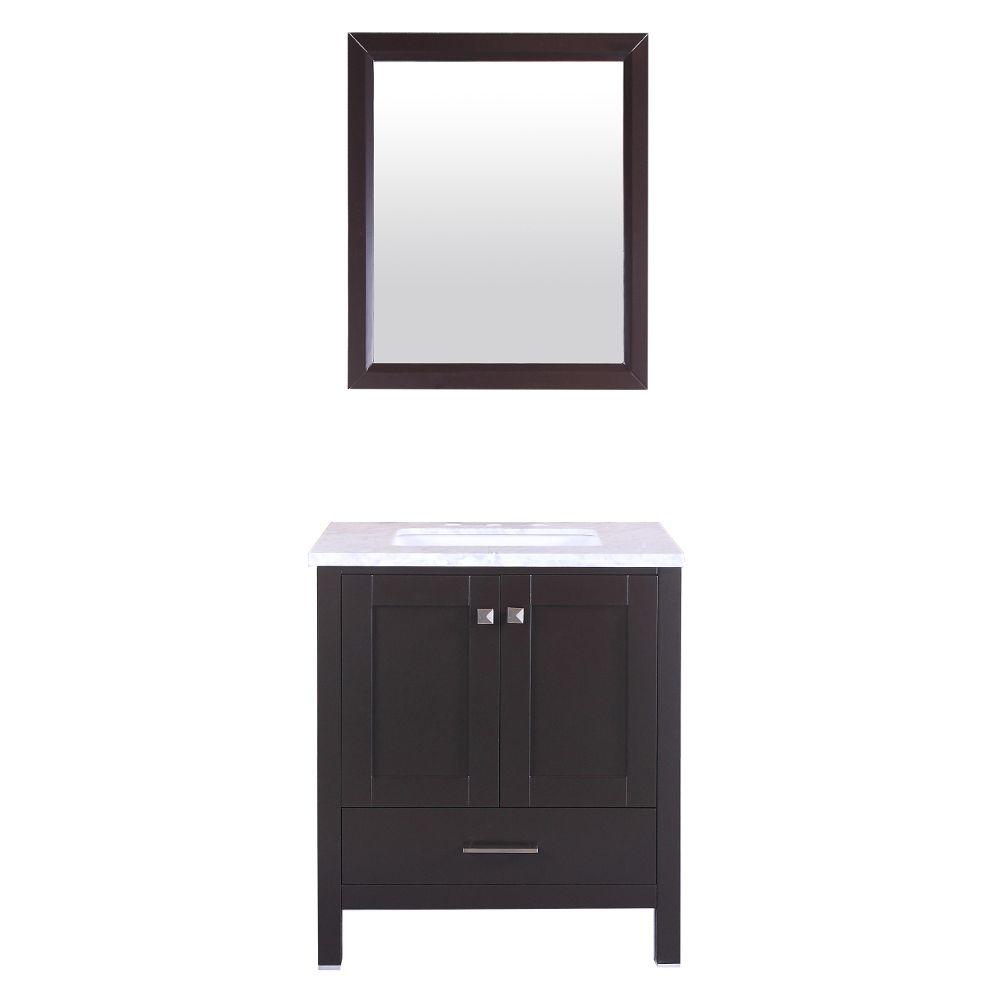 Eviva Aberdeen 30 In. Transitional Espresso Bathroom Vanity With White Carrera Countertop