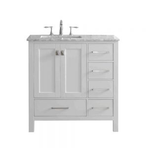 Eviva Aberdeen 36 In. Transitional White Bathroom Vanity With White Carrera Countertop