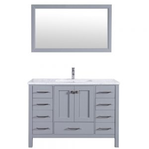 Eviva Aberdeen 42 In. Transitional Grey Bathroom Vanity With White Carrera Countertop