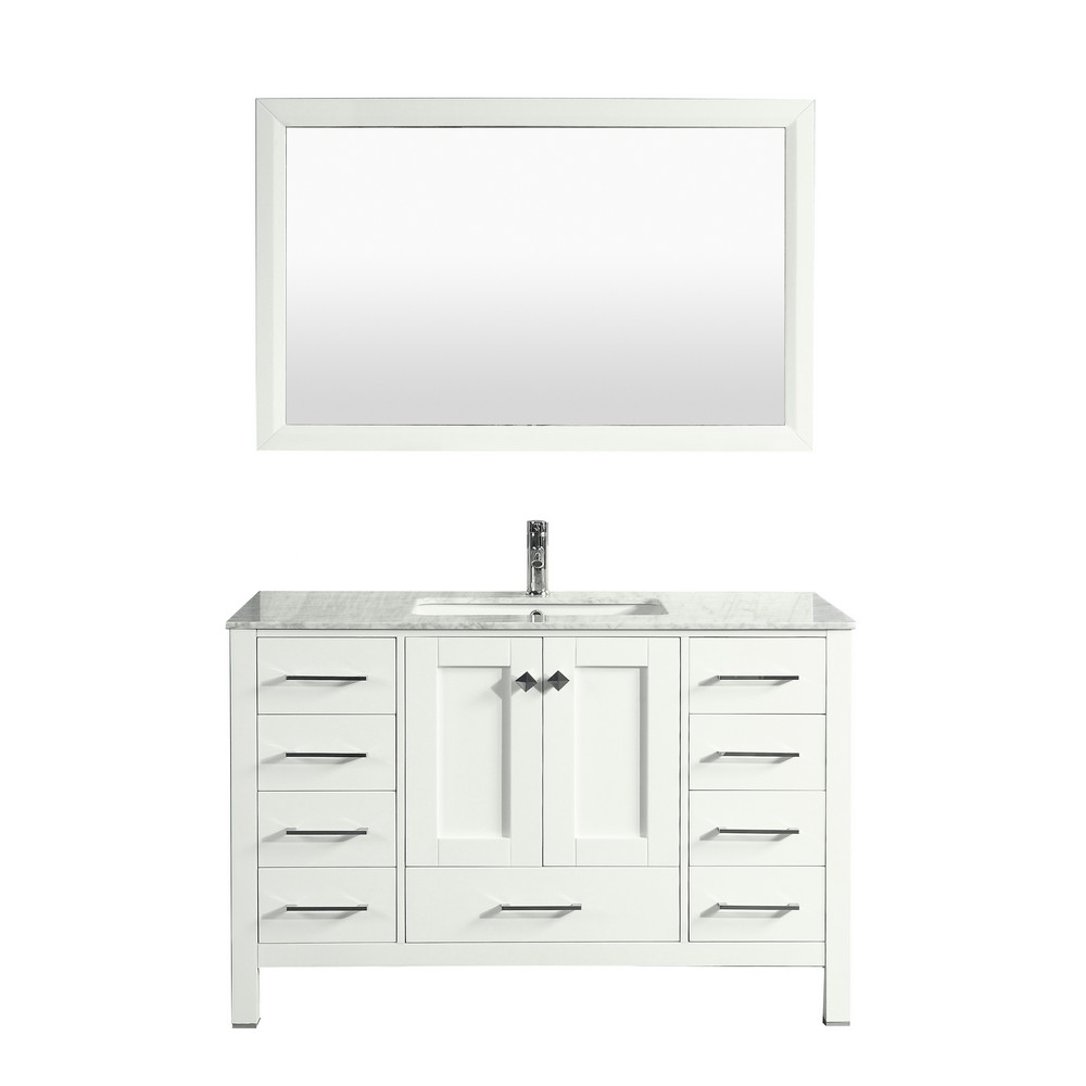 Eviva Aberdeen 42 In. Transitional White Bathroom Vanity With White Carrera Countertop