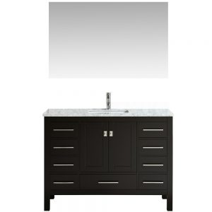 Eviva Aberdeen 48 In. Transitional Espresso Bathroom Vanity With White Carrera Countertop