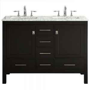 Eviva Aberdeen 48 In. Transitional Espresso Double Bathroom Vanity With White Carrera Countertop