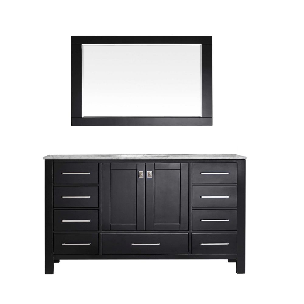 Eviva Aberdeen 60 In. Transitional Espresso Single Bathroom Vanity With White Carrera Countertop