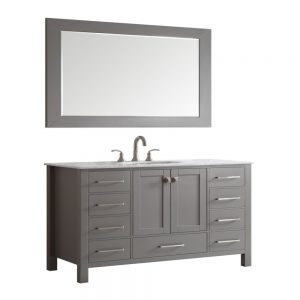 Eviva Aberdeen 60 In. Transitional Grey Single Bathroom Vanity With White Carrera Countertop