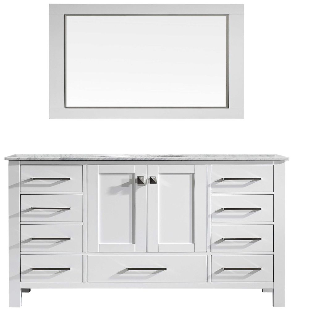 Eviva Aberdeen 60 In. Transitional White Single Bathroom Vanity With White Carrera Countertop