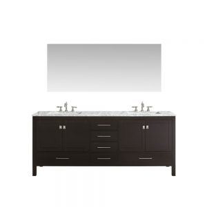 Eviva Aberdeen 72 In. Transitional Espresso Bathroom Vanity With White Carrera Countertop