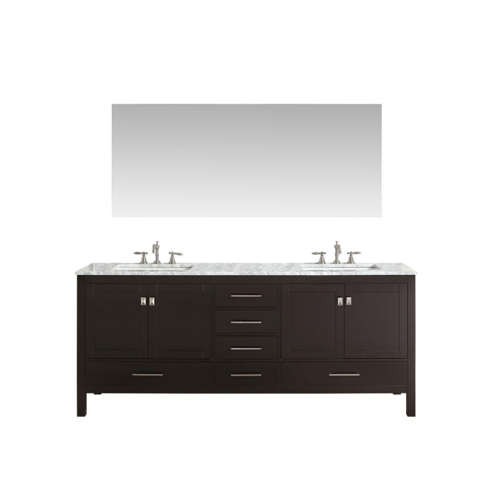 Eviva Aberdeen 72 In. Transitional Espresso Bathroom Vanity With White Carrera Countertop
