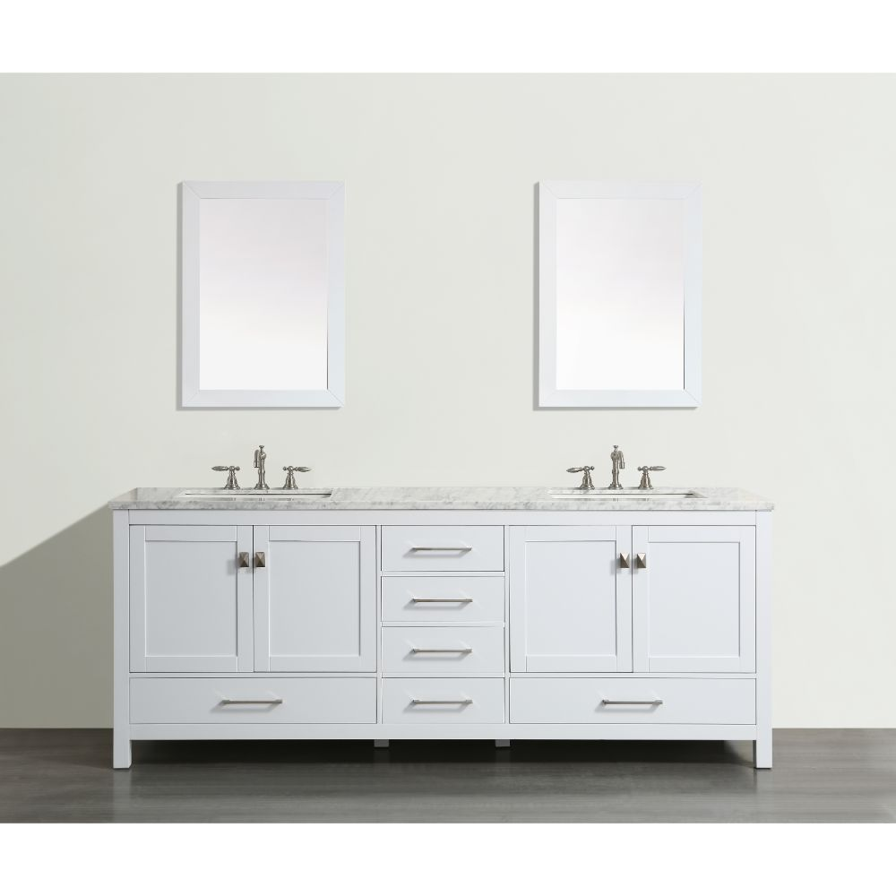 Eviva Aberdeen 72 In. Transitional White Bathroom Vanity With White Carrera Countertop