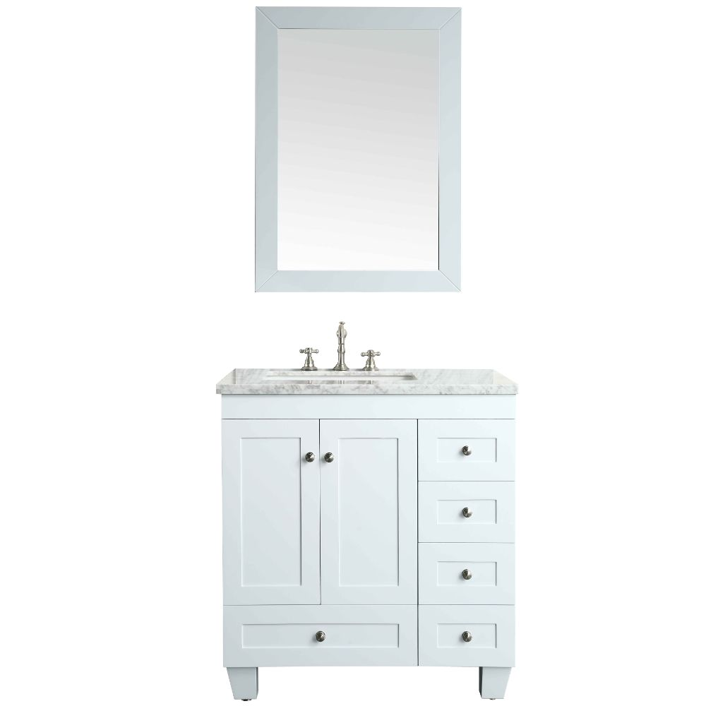 Eviva Acclaim C. 30 In. Transitional White Bathroom Vanity With White Carrera Marble Countertop